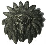 Indian Skull & feathered Head-dress Pin Badge